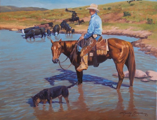 Gathering at the Waterhole, 24x30, SOLD