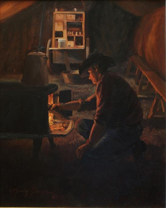 Stokin' the Fire, 20x16, $2,000